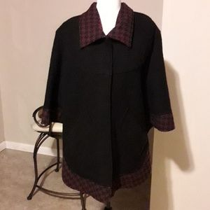 Wool trimmed in wool and rayon cape jacket